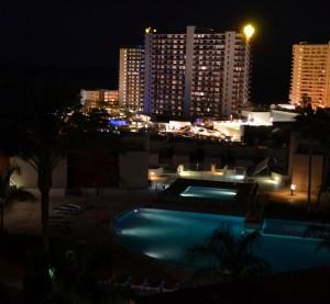 Terras-zicht bij nacht